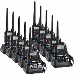 10 Pack Baofeng UV-5R VHF/UHF Dual Band FM Ham Two Way Radio Walkie Talkie