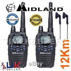 12Km Midland G7 Pro Dual Band Walkie Talkie Two Way PMR 446 Radio + 2 Headsets