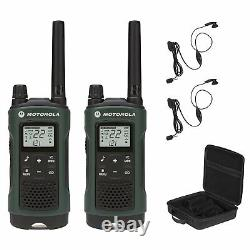 2 PK Hunting Hands Free Walkie Talkie With Headset PTT Two Way Radio GMRS NOAA