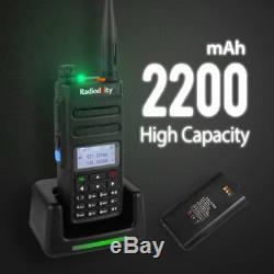 2x Radioddity GD-77 DMR Tier II V/UHF 2200mAh Two way Radio + Antenna + Cable