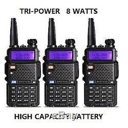 3 PCS BAOFENG UV-5R 8W TRI- Power Dual Band Portable Two-Way radio
