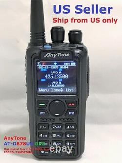 AnyTone AT-D878UV GPS Dual Band DMR/Analog radio with 3100 mAh battery US seller
