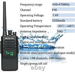 DMR Retevis RT50 Two Way Radio Long Range 198CH IP67 UHF 10W Walkie Talkies+USB