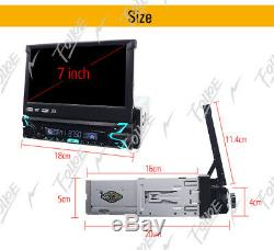 GPS Navigation Map 1DIN Car Stereo CD DVD Player 7 Flip Up Radio Touch Screen