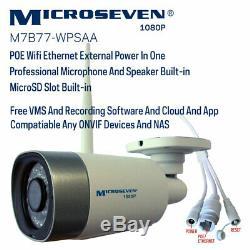 Microseven 1080P Sony CMOS WiFi+PoE IP Camera 2 Two-Way Audio SD Slot Alexa New