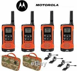 Motorola Talkabout T265 4 Pack Walkie Talkie Set 25 Mile Two Way Radio + Earbuds