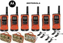 Motorola Talkabout T265 6 Pack Walkie Talkie Set 25 Mile Two Way Radio + Earbuds