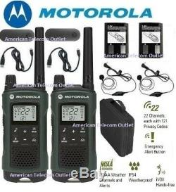 Motorola Talkabout T465 Walkie Talkie Set 35 Mile Two Way Radio w Earbuds + Case