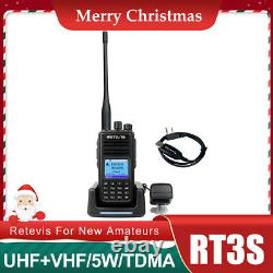 Retevis RT3S DMR Digital/Analog Ham Walkie Talkies UHF+VHF Two Way Radio Alarm