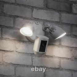 Ring Floodlight Camera Motion-Activated Two-Way Talk and Siren Alarm White