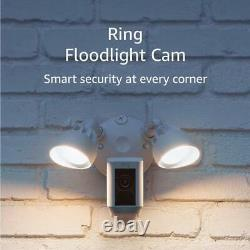 Ring White Floodlight Camera Motion-Activated HD Security Cam Two-Way Talk/Alarm