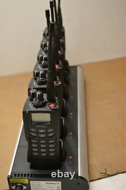 Set of 6 EF Johnson 5100 ES UHF 380-470Mhz Full KeyPad + Six Bay Battery Charger
