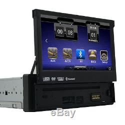 Single 1 Din In-dash Car Stereo 7 HD Touch Screen DVD Player GPS Aux iPod Radio