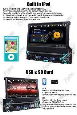 Single Din Car DVD Player 7 TouchScreen Stereo GPS Navigation BT +Backup Camera