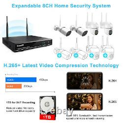 SmartSF 3MP 8CH Wireless CCTV Camera System Two-way Audio Outdoor Security kit