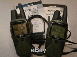 Two used Garmin Rino120 FRS/GMRS Handheld GPS Navigation & Two-Way Radio